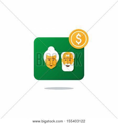 Flat design vector illustration. Retirement payment, pension fund