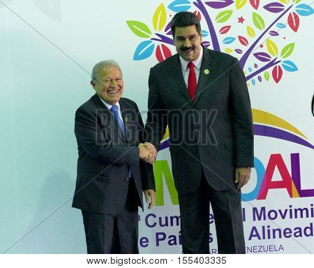 Porlamar Venezuela. September 17th 2016: A Salvadoran President Salvador Sanchez Ceren and Venezuelan President Nicolas Maduro before the opening ceremony at the Non-Aligned Movement summit in Porlamar Margarita Island Venezuela