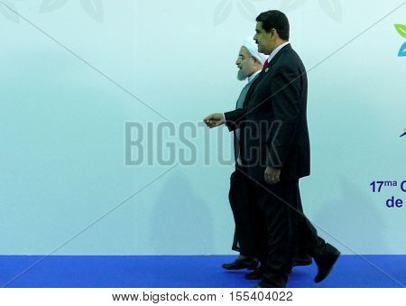 Porlamar Venezuela. September 17th 2016: Iranian President Hasan Rouhani and Venezuelan President Nicolas Maduro at the opening ceremony of the Non-Aligned Movement Summit in Porlamar Venezuela