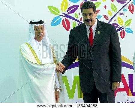 Porlamar Venezuela. September 17th 2016: Qatar's Deputy Prime Minister Ahmad Abdullah Al Mahmoud and Venezuelan President Nicolas Maduro at the opening ceremony of the Non-Aligned Movement Summit in Porlamar Venezuela
