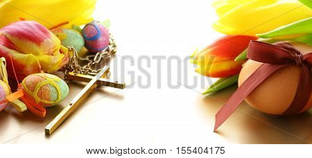 Easter colored eggs. Traditional Easter decoration and symbol.