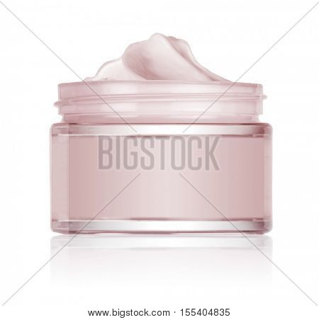 glass vase of beauty cream isolated on white