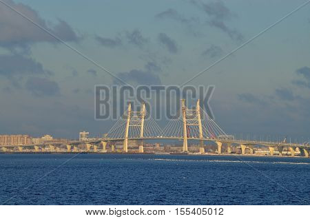 Cable-stayed bridge on the ring road across the Bay.