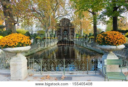 The Medici fountain is a monumerntal fountain in the Jardin du Luxembourg in the 6th arrondissement of Paris. It was built in about 1630 by Marie de Medici.