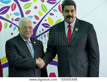 Porlamar Venezuela. September 17th 2016: Mahmoud Abbas president of Palestine and Venezuelan President Nicolas Maduro at the opening ceremony of the Non-Aligned Movement Summit in Porlamar Venezuela