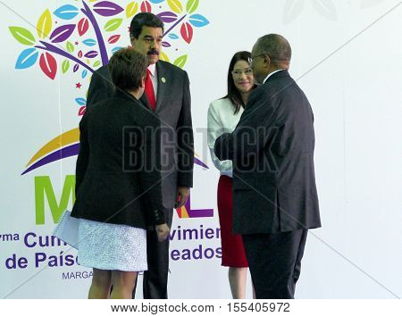 Porlamar Venezuela. September 17th 2016: Sibusiso Barnabas Dlamini Prime Minister of the Kingdom of Swaziland and Venezuelan President Nicolas Maduro before the opening ceremony at the Non-Aligned Movement summit in Porlamar Margarita Island Venezuela