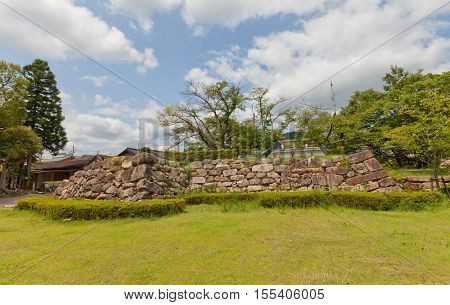 Stone foundation of former donjon (Tenshu) of Tanabe castle. Castle was erected in 1579 by Hosokawa Fujitaka abandoned in 19th c partly reconstructed in 1940 and 1997