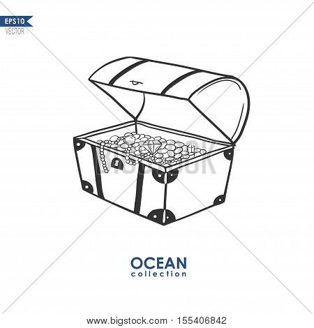 doodle illustration of a trunk with treasures, vector illustration of treasure box