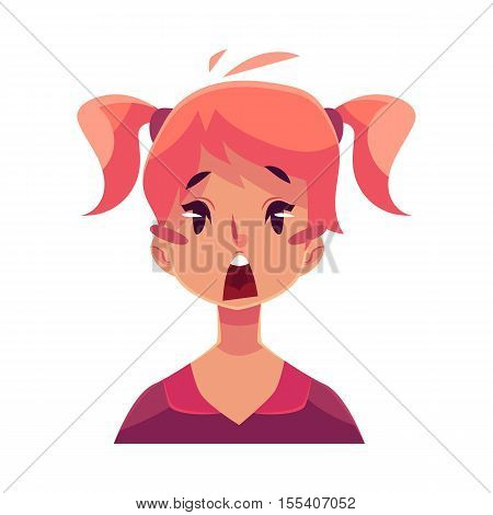 Teen girl face, surprised facial expression, cartoon vector illustrations isolated on white background. Red-haired girl emoji surprised, shocked, amazed, astonished. Surprised face expression