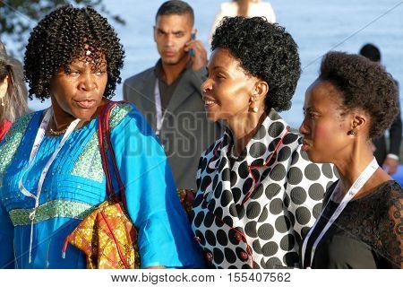 Porlamar Venezuela. September 17th 2016 - Minister of Foreign Affairs of South Africa Maite Emily Nkoana-Mashabane (C) at the 17th Summit of the Non-Aligned Movement in Porlamar Margarita Island Venezuela on September 17 2016.