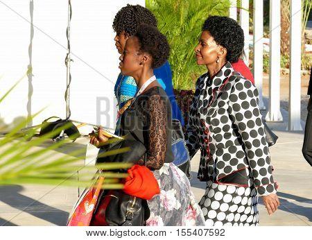 Porlamar Venezuela. September 17th 2016 - Minister of Foreign Affairs of South Africa Maite Emily Nkoana-Mashabane (R) at the 17th Summit of the Non-Aligned Movement in Porlamar Margarita Island Venezuela on September 17 2016.