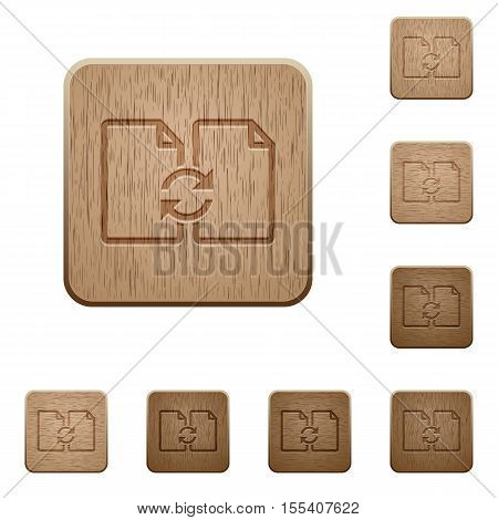Swap documents icons in carved wooden button styles