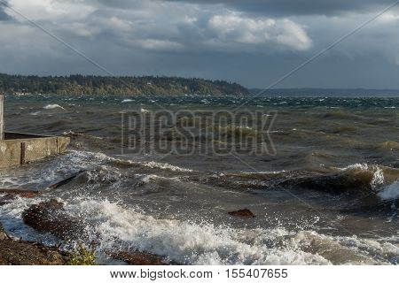 A view of the Puget Sound on a stormy day. Shot taken from Burien Washington.