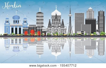 Harbin Skyline with Gray Buildings, Blue Sky and Reflections. Vector Illustration. Business Travel and Tourism Concept with Historic Architecture. Image for Presentation Banner Placard and Web Site.