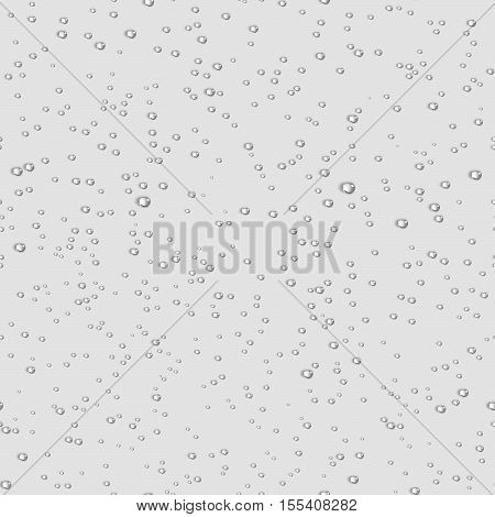 Water transparent drops seamless pattern. Rain drops. Condensed water on light background. Water drops scattered across the surface. Vector illustration