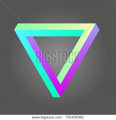 Vector penrose triangle design in neon colors. Stock illustration