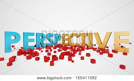 Perspective View Examples with Perspektive Text,  Perspective 3D Illustration