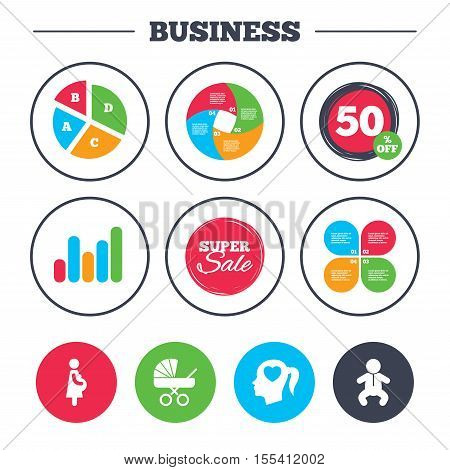 Business pie chart. Growth graph. Maternity icons. Baby infant, pregnancy and buggy signs. Baby carriage pram stroller symbols. Head with heart. Super sale and discount buttons. Vector