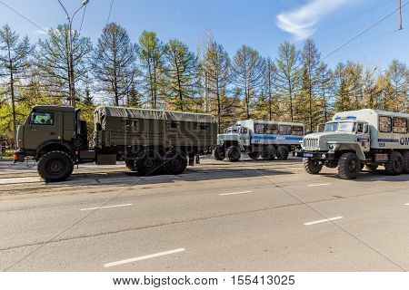 Nizhny Tagil Russia - May 09 2016: Armoured vehicles special purpose police. Victory parade