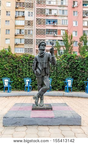 Elista Russia - September 21 2015: Monument to the famous literary character Ostap Bender. Chess Symbol town