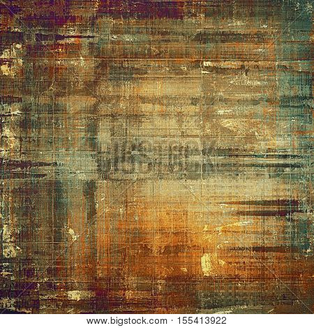 Abstract vintage background with grunge effects, ragged elements, and different color patterns: yellow (beige); brown; gray; green; red (orange); purple (violet)