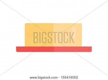 Butter vector Illustration. Flat style design. Milk products concept. Piece of fresh natural batter on red plate illustration for  advertising, menu, app pictogram. Isolated on white background.