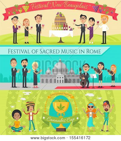Festival New beaujolais in France. Festival of sacred music in Rome. International festival cannabis cup banners set. Italian and French national festivals in flat style design. Holiday event. Vector