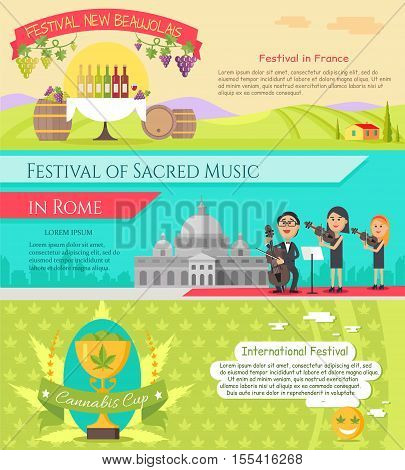 Festival New beaujolais in France. Festival of sacred music in Rome. International festival cannabis cup banners set. Italy national festivals in flat style design. Holiday event. Vector illustration