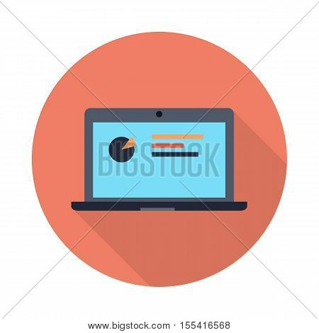 Laptop with diagram on screen. Laptop flat icon with long shadow. Laptop with infographics. Concept of online business, commerce, statistics, information. Isolated object on white background.