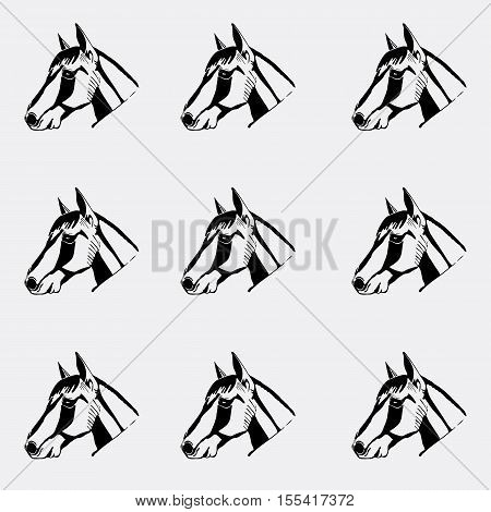 Pattern monochrome, black and white. Horse head, hand drawn style. Stencil, engraving, linocut style.