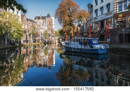 Utrecht Netherlands - October 23 2016: Boat in the Oude Gracht in the historic center of the city of Utrecht