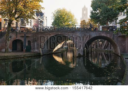 The Oude Gracht in the historic center of the city of Utrecht