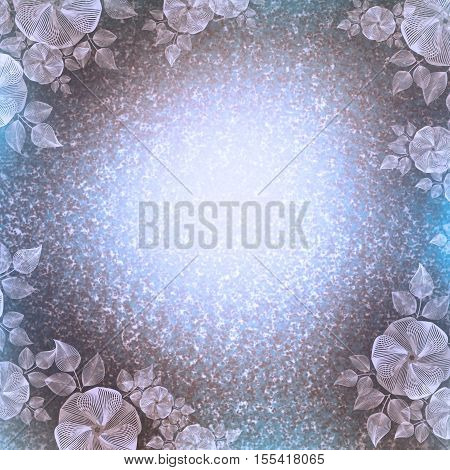 Vintage wall-paper Flower vignette beige-blue. A beautiful background in ancient style with the light center and the darkened edge with a flower pattern. It is intended for creation of cards imposing of the text.