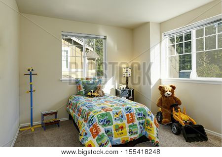 Cheerful Boy's Room With Colorful Bed And Toys