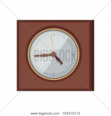 Wall clock vector in flat style design. Elegant classic square chronograph in wooden body.  Antique interior element. Time measure and chronology concept. Isolated on white background