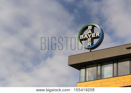 Prague, Czech Republic - November 7: Bayer Pharmaceutical Company Logo On The Building Of Czech Head