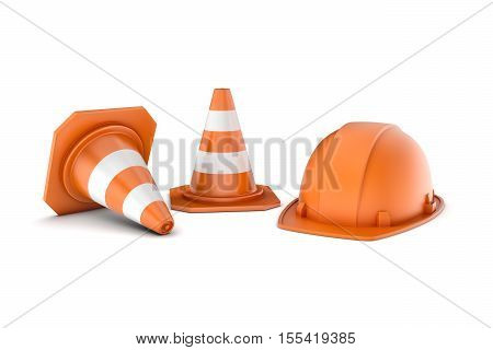 3d rendering of two striped orange-and-white road cones and an orange helmet, all isolated on the white background. 3d modeling. Traffic signs. Safety gear and equipment. Construction site.