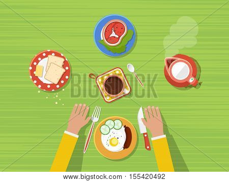 Fried eggs bread and butter steak hot kettle and coffee on kitchen table top view poster vector illustration
