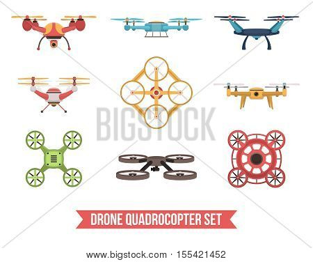 Flat set of flying colorful unmanned drone quadrocopters isolated on white background vector illustration