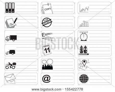Transport icon symbol business industry sticker item print for short note art line black and white color and clipping path.