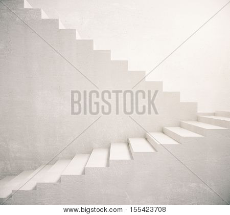 Concrete stairs leading up. Success concept. 3D Rendering
