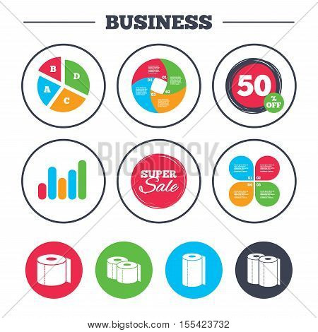 Business pie chart. Growth graph. Toilet paper icons. Kitchen roll towel symbols. WC paper signs. Super sale and discount buttons. Vector
