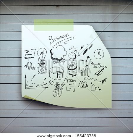 Green sticker with business sketch glued to wooden plank surface. Success concept. 3D Rendering