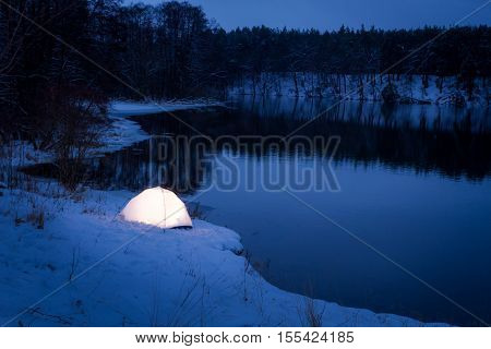 Accommodation extreme location in the winter night