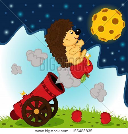 hedgehog on cannonball flies into space - vector illustration, eps