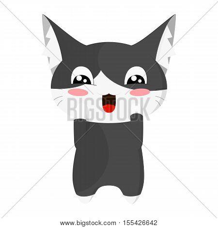 Сute happy kitten. Sweet black cat. Cartoon style.