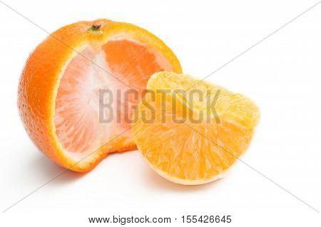 Mandarin tangerine citrus fruit isolated on white background