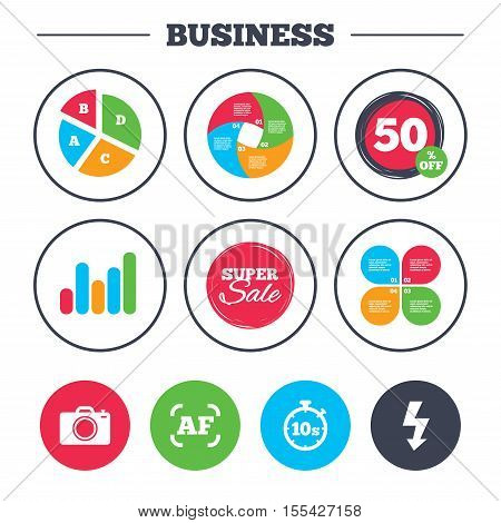 Business pie chart. Growth graph. Photo camera icon. Flash light and autofocus AF symbols. Stopwatch timer 10 seconds sign. Super sale and discount buttons. Vector