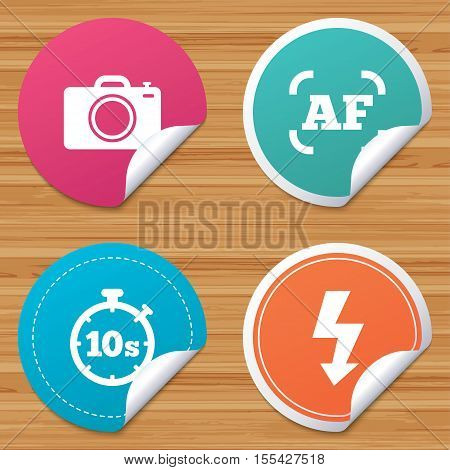 Round stickers or website banners. Photo camera icon. Flash light and autofocus AF symbols. Stopwatch timer 10 seconds sign. Circle badges with bended corner. Vector
