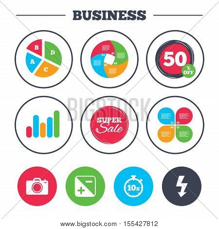 Business pie chart. Growth graph. Photo camera icon. Flash light and exposure symbols. Stopwatch timer 10 seconds sign. Super sale and discount buttons. Vector